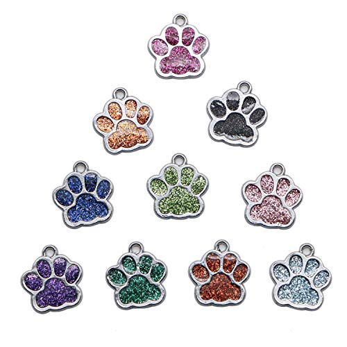 (JETEHO 24 Pcs Dog Cat Paw Chunk Snap Button Charms Pendants Crystal Beads for Snap Bracelet DIY Necklace Jewelry Making)