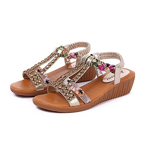 Sandals FEIFEI Women's Shoes PU Material Summer Fashion Rhinestone Flat Bottom Gold Silver Optional (with High: 4.5CM) (Color : Gold, Size : EU36/UK4/CN36) Gold