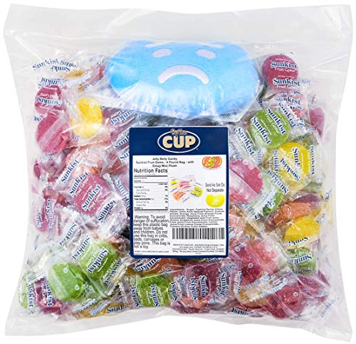 By The Cup Gift Pack - Jelly Belly Candy, 4 Pound Bag Sunkist Fruit Gems - with Jelly Belly Emoji Mini Plush