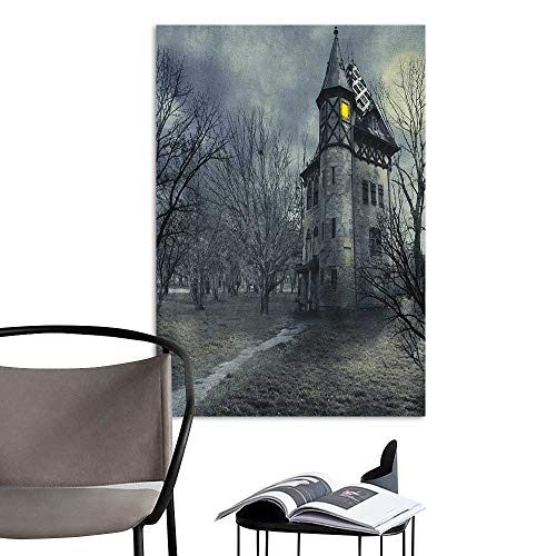 Alexandear Poster Sticker Halloween Halloween Design with Gothic Haunted House Dark Sky and Leafless Trees Spooky Theme Teal Rental House Wall W8 x -