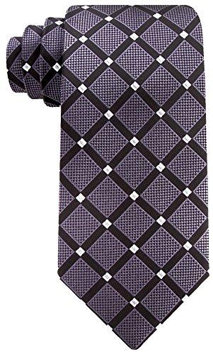 Geometric Ties for Men - Woven Necktie - Charcoal w/Silver
