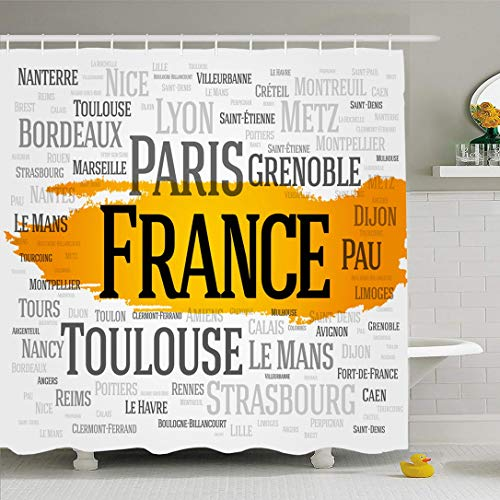 - Ahawoso Shower Curtain 72x72 Inches Word French List Cities France Paris Grenoble Cloud Nice Bordeaux Brest Cannes Capital Design Waterproof Polyester Fabric Set with Hooks