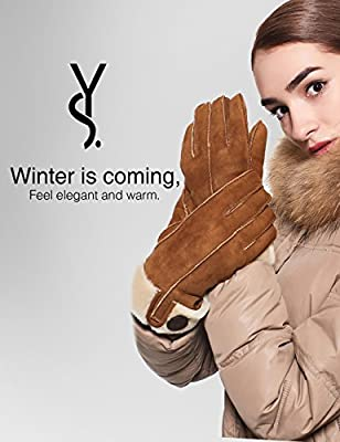 YISEVEN Women's Merino Sheepskin Shearling Leather Gloves Flip Cuff