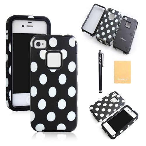 TIANLI(TM) Plastic Silicone Rugged Hybrid Colorful Polka Dot Paint Case for Apple iPhone 4/4S+[Screen Protector]+[Free Stylus]+[Cleaning Cloth] BD Black