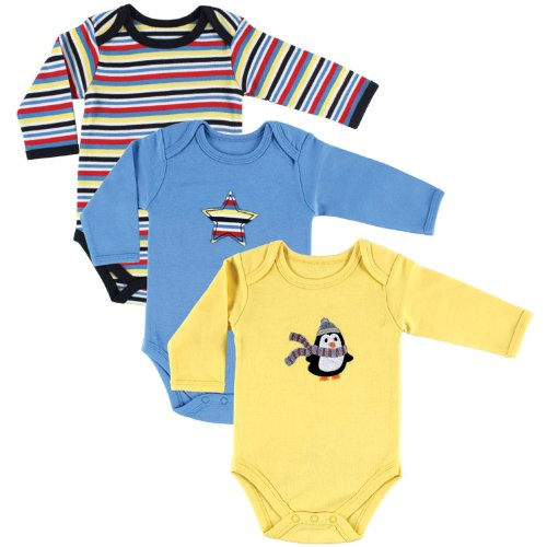 Hudson Baby Unisex Baby Long Sleeve Bodysuits, Penguin 3-Pack 6-9 Months (9M) ()