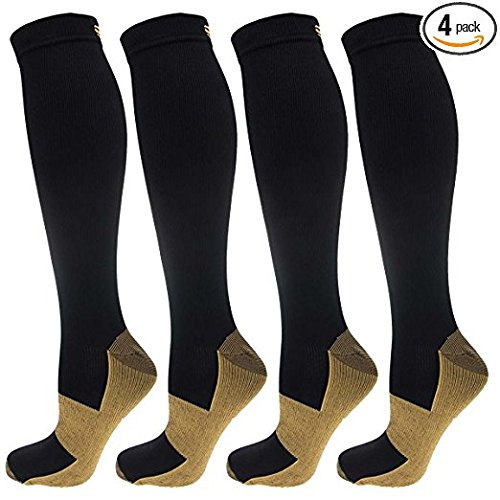 4 Pairs of Ontel Copper-Infused Anti-Fatigue Compression Knee-High Health Socks, For Men & Women (Large/Extra Large)