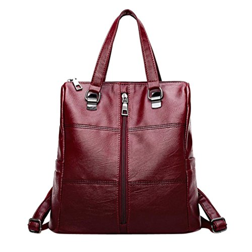 Bag Bag Women's Leather School Handbag Double Shoulder Travel Zipper LMMVP Red Backpack R8UnqRv