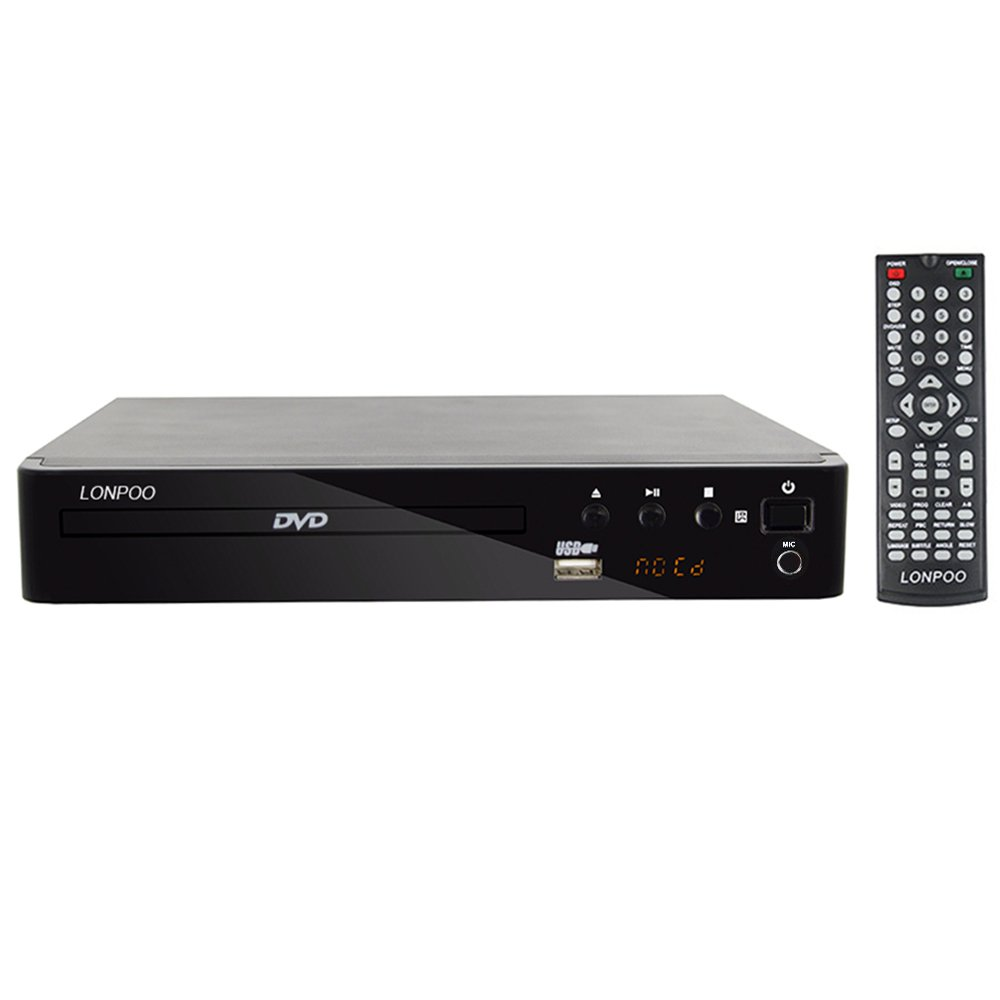 LONPOO 2.0CH Compact HD DVD Player CD Player All Region Free with HDMI Ports/ USB Input/ Karaoke Microphone Input/ CD Ripping/ Digital Display/ Full Function Remote