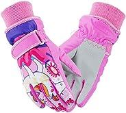 Weanas Kids Ski Gloves Winter Warm Mittens Camo Print Waterproof Skiing Mittens for Boys Girls