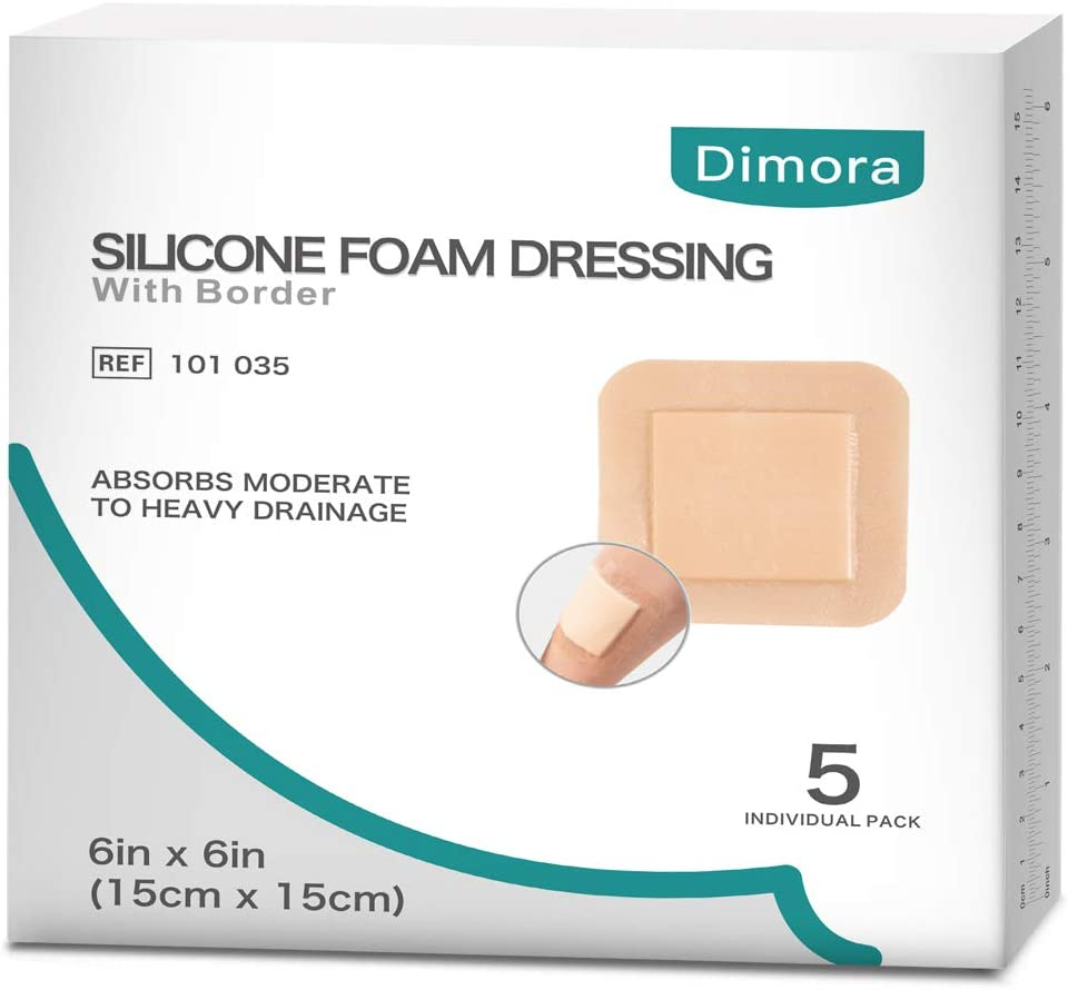 Self-Adhesive Silicone Foam Bandage Wound Dressing with Border 4 x 4 Box of 10 Count