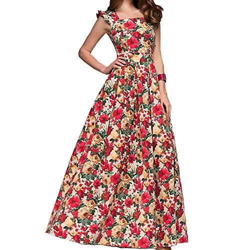 Simple Flavor Womens Sleeveless Floral Maxi Dress Casual Summer Long Dress