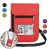 Auker Travel Passport Holder RFID Blocking Neck Wallet Pouch ID Credit Card Document Organizer Crossbody Bag (Red)