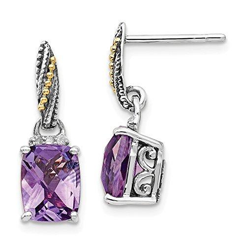 925 Sterling Silver 14k Diamond Purple Amethyst Drop Dangle Chandelier Post Stud Earrings Birthstone February Fine Jewelry Gifts For Women For ()