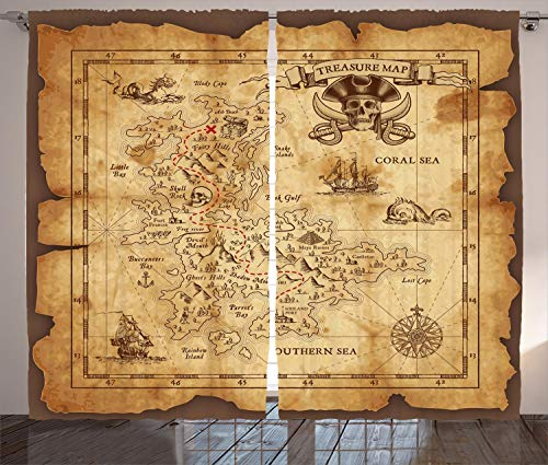 Ambesonne Island Map Curtains, Super Detailed Treasure Map Grungy Rustic Pirates Gold Secret Sea History Theme, Living Room Bedroom Window Drapes 2 Panel Set, 108 W X 84 L Inches, Beige Brown