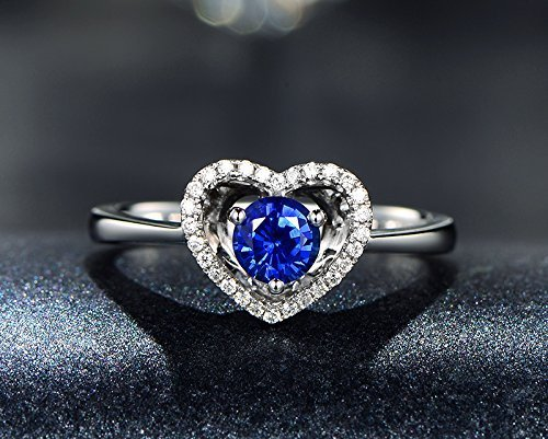 Solid 18k white gold promise ring,0.09ct SI-H Diamond engagement ring,0.55ct Round blue Sapphire,pave set ()