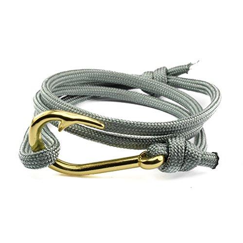 North Street Bracelets Nylon Cord Pink ang Grey Hook Wrap Bracelet (2 color pack)