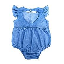 MonkeyJack Cool Summer Sleeveless Unisex Baby's Jumpsuit Demin Blue Snap Closure Romper - 70, Blue