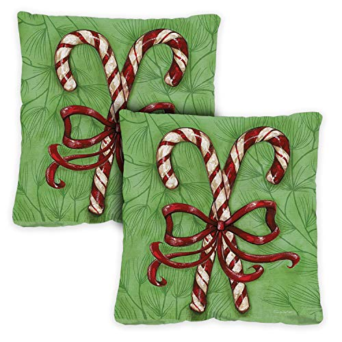 Toland Home Garden Decorative Candy Cane Winter Holiday Christmas Xmas 18 x 18 Inch Pillow Case (2-Pack) from Toland Home Garden