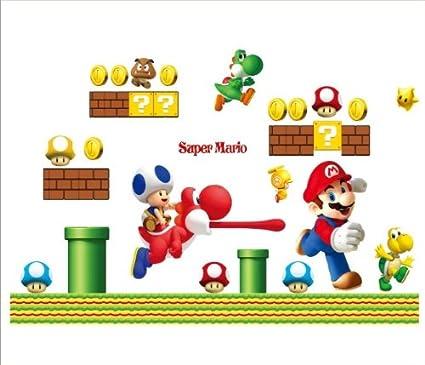 Super Mario Bros Jungen Kinderzimmer Wand Sticker Aufkleber Dekoration