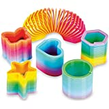 50 Assorted Mini Rainbow Spring Slinky Toy - Great for Birthday Party Favors
