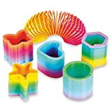 50 Assorted Miniature Coil Rainbow Spring Toy - Multiple Shapes - Perfect Size for Kids - Bright Colors and Durable Designs - Awesome As Birthday Party Favors, Pinata Fillers, and Stocking Stuffers