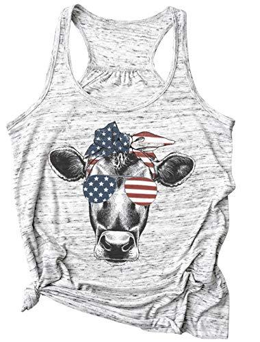 Womens Cow Bandana Racerback Tank Tops USA 4th of July Cute Graphic Tee Shirt American Flag Summer Sleeveless T Shirt (Large, Light Grey) ()