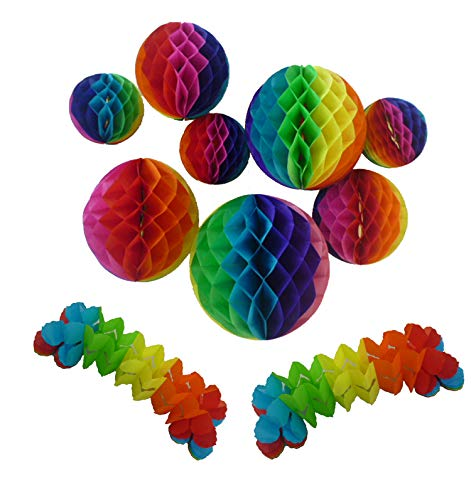 - Tissue Paper Honeycomb Balls Rainbow Colors Paper Flower Ball - Birthday,Wedding,Party Decor, Tissue Paper Flowers Kit,Pom Poms Decoration (6'',8'',10'',12'',Pack of 10)