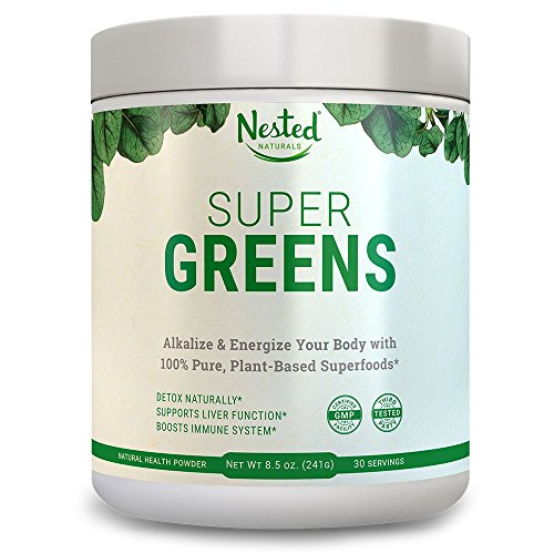 Powder Alkalizing (Super Greens | Best Green Veggie Superfood Powder | 30 Servings | 20 Whole Foods (Wheat Grass, Spirulina, Chlorella, Kale, Barley), Probiotics, Fiber, Enzymes | GMO, Soy, Gluten-Free Juice Supplement)