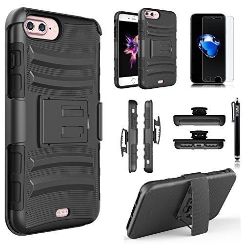 Google Pixel XL Case, Dual Layers [Combo Holster] Case And Built-In Kickstand Bundled with [Tempered Glass Screen Protector] Hybird Shockproof And Circlemalls Stylus Pen (Black)