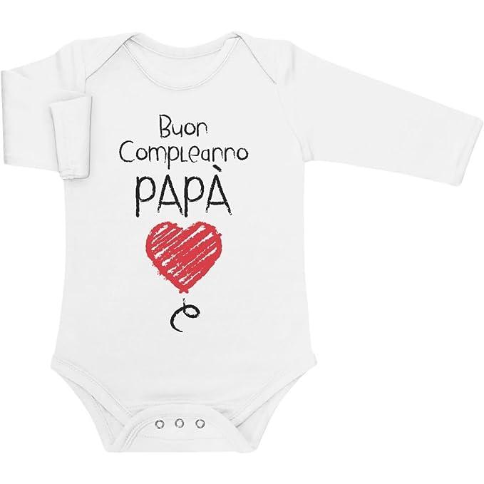131f580fc8b236 Shirtgeil Buon Compleanno papà - Idea Regalo per Padre e Neonato Body  Neonato Manica Lunga: Amazon.it: Abbigliamento