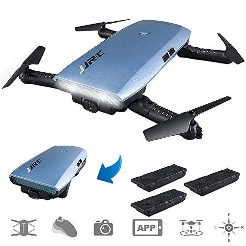 Cheap JJRC H47 RC Drone with 720P HD WiFi FPV Camera Quacopter with Gravity Sensor Foldable Drone Helicopter Quadcopter-3 Batteries, Altitude Hold, Headless Mode(Blue)
