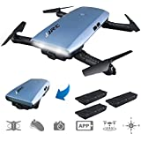 JJRC H47 RC Drone with 720P HD WiFi FPV Camera Quacopter with Gravity Sensor Foldable Drone Helicopter Quadcopter-3 Batteries, Altitude Hold, Headless Mode(Blue)