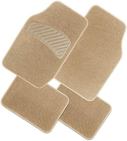 N / A Matdology 4-Piece Universal Fit Classic Carpet Vehicle Floor Mats with Heel Pad, Heavy Duty Car Interior Floor Mats All Weather Protection (Tan Beige)
