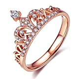 ZHENYUL Womens Fashion Princess Crown Ring 18K Rose Gold Plated Tiara CZ Diamond Wedding Band Engagement Promise Rings Cubic Zirconia (Rose Gold, 8)