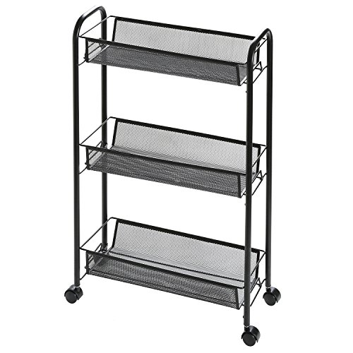 3 Tier Metal Office Supply Rolling Cart with Mesh Wire Storage Basket Shelves
