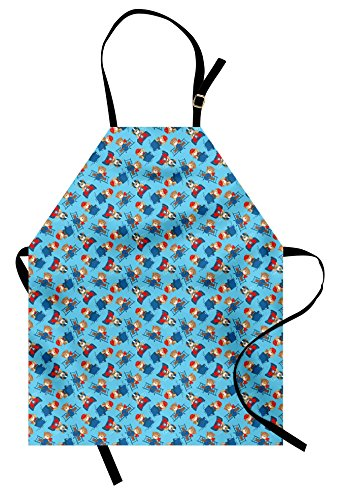 (Ambesonne Vintage Airplane Apron, Pilot Captain and Driver Toy Bear on Race Car Tugboat and Propeller Plane, Unisex Kitchen Bib Apron with Adjustable Neck for Cooking Baking Gardening, Multicolor)