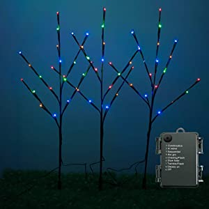 Rayslife 3 Pack LED Lighted Twig Branches with Timer and 8 Modes, Battery Operated 30 Inch 60 LED Decorative Artificial Tree Lights Willow Branch for Home Living Room Floor Vase, Multi-Color