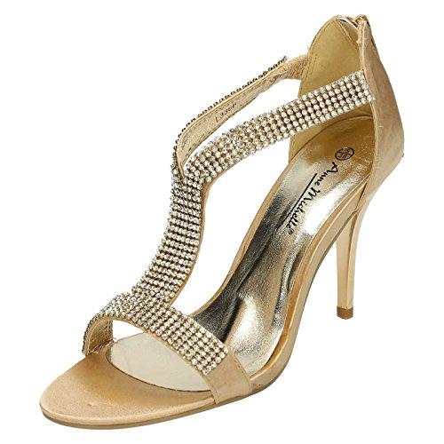 Anne Michelle Ladies Heeled Sandals Gold