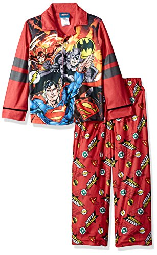 Set Coat Pj (DC Comics Boys' Little Justice League Coat Pj Set, Button Front Top, with Pant, red, 6/7)