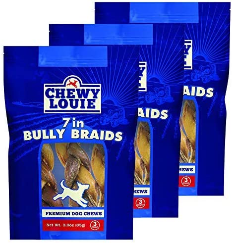 CHEWY LOUIE 7 Braided Bully Sticks – 100 Beef Treat, No Artificial Preservatives, Colors, or Flavors. Tough, Long-Lasting, and Dental Support Dog Treats.