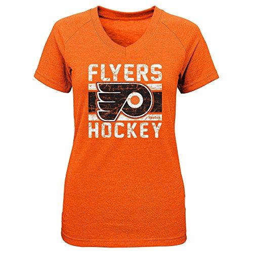 Outerstuff NHL Philadelphia Flyers Girls Iced Lines V-Neck Short Sleeve Tee, Medium/(10-12), Orange