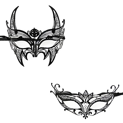 His & Hers Extravagant Masquerade Masks [Black/silver Themed] - Charming's Half