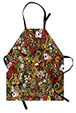Ambesonne Casino Apron, Doodles Style Artwork of Bingo and Cards Excitement Checkers King Tambourine Vegas, Unisex Kitchen Bib Apron with Adjustable Neck for Cooking Baking Gardening, Multicolor