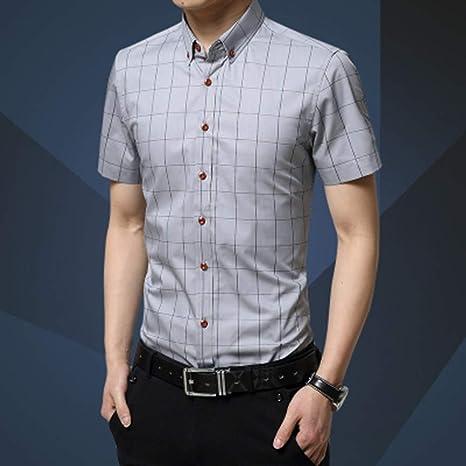 YAYLMKNA Camisa Camisa De Hombre Pantalones Cortos para Hombre Manga Corta Slim Fit Camisa De Vestir A Cuadros Verano, 3XL: Amazon.es: Deportes y aire libre