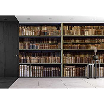 Wall26   Historic Old Books In Ancient Library, Wooden Bookshelf    Removable Wall Mural |