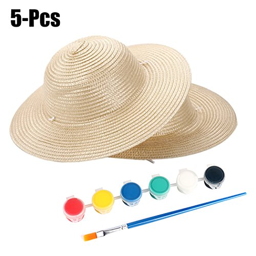 (Fansport 5PCS Kids Straw Hat Creative DIY Cowboy Hat with Paint and Paint)