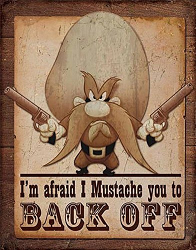 Yosemite Sam - Back Off Distressed Retro Vintage Tin Sign 13 x 16in