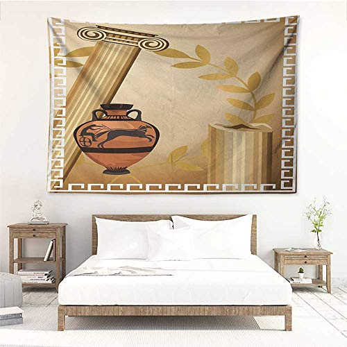 Toga Party,Bedroom Tapestry Antique Greek Columns Vase Olive Branch Hellenic Heritage Icons 72W x 54L Inch Wall Blanket Art Dorm Pale Brown Cinnamon White - Vase Greek Key