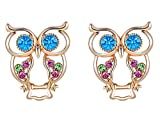 Stylish Beautiful Jewelry Cute Rose Gold Owl Earrings Clear Crystal Rhinestone Stud Special for Women Christmas/Wedding/Valentine/Birthday Gift
