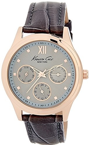 Kenneth Cole New York 10029560 Women's Multifunction Rose-Gold Tone Analog Watch Grey Leather Strap (Kenneth Cole Watches Rose Gold)